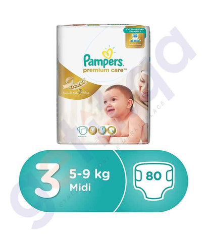 PAMPERS - PAMPERS PREMIUM CARE SIZE-3 (80 PIECES) SUPER-SAVER JUNIOR-PACK