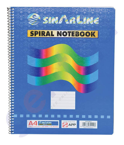 Papers, Pads & Hand Book - SINAR A4  SIDE SPIRAL WRITING PAD  - SP03851