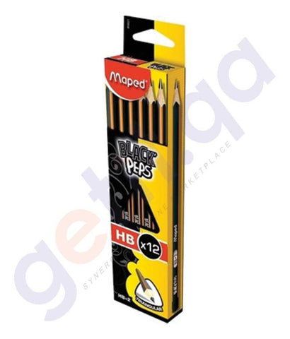 Pen, Pencil & Markers - MAPED BLACK PEPS 12X HB PENCIL BOX PACK OF 12 - MD-850021