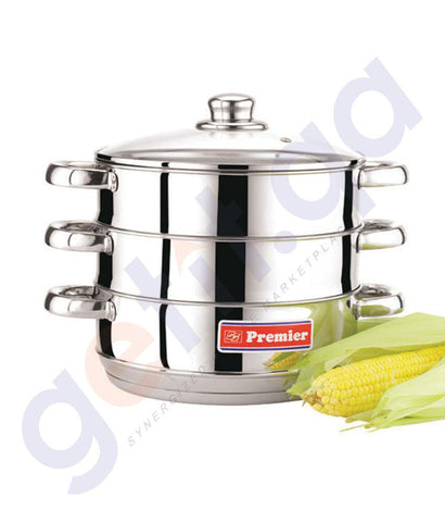 Plastic Products - STAINLESS STEEL MULTI STEAMER - 24 CM WITH GLASS LID BY PREMIER