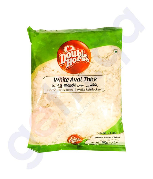 RICE FLAKE - DOUBLE HORSE AVAL WHITE THICK - 400GM