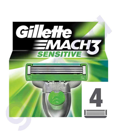 SHAVING - GILLETTE 4PCS MACH3 SENSITIVE MEN'S RAZOR BLADE REFILLS