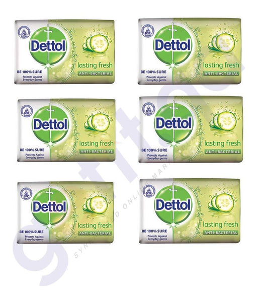 SOAP - DETTOL SOAP (6 PCS)LASTING FRESH 105GM