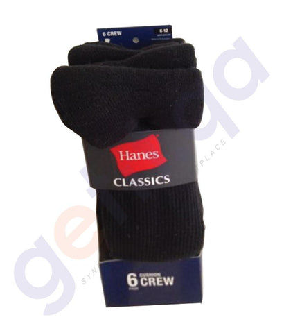 SOCKS - HANES CLASSICS CUSHION CREW- BLACK-6 PAIRS-CL 85