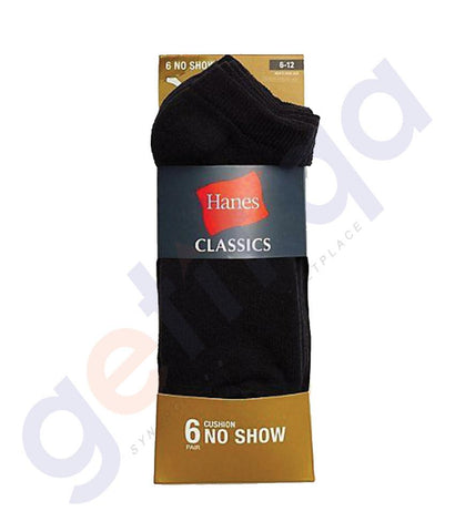 SOCKS - HANES CLASSICS CUSHION NO SHOW-BLACK- 6 PAIRS- CL 90