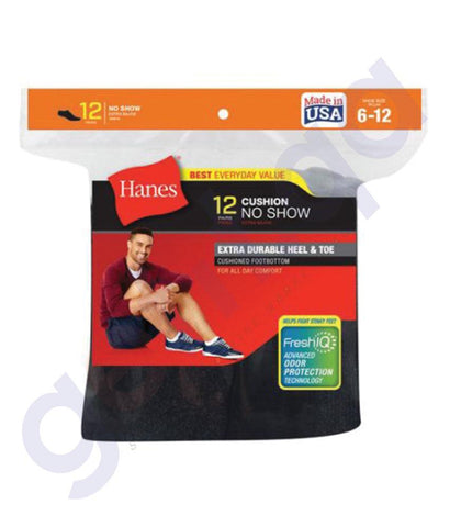 SOCKS - HANES CUSHION NO SHOW-BLACK- 6 PAIRS- 190/6