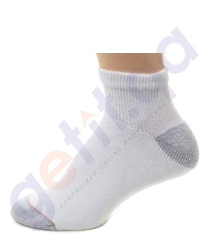 SOCKS - HANES CUSHION NO SHOW-WHITE- 6 PAIRS- 190/6