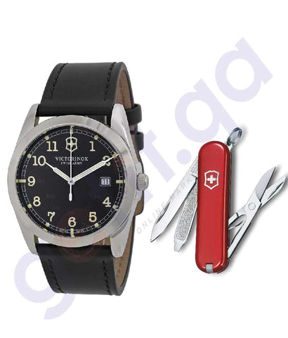 VICTORINOX SWISS ARMY BLACK DIAL LEATHER QUARTZ MEN'S WATCH-241584 + VICTORINOX SWISS ARMY KNIFE-6223