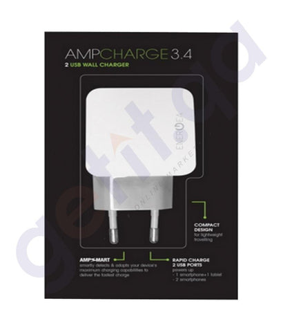 WALL CHARGER - ENERGEA AMPCHARGE  3.4,USB WALL CHARGER 2 PORT 3.4AMPS (UK) - WHITE