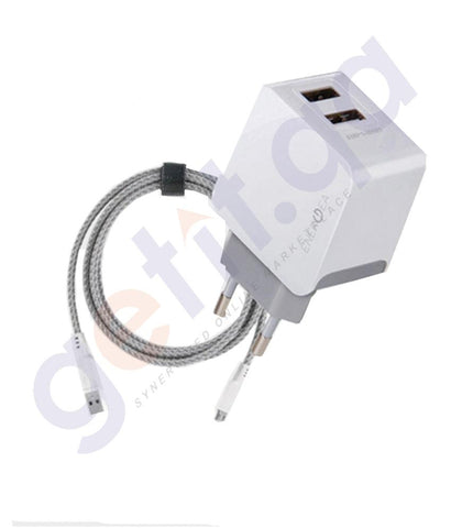 WALL CHARGER - ENERGEA NYLOTOGH KIT MICRO USB+2USB WALL CHARGER 3.4A(UK)