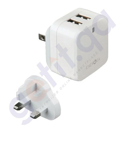WALL CHARGER - ENERGEA TRAVELLITE 3.4 USB WALL CHARGER 3.4 AMPS (US+UK) - WHITE