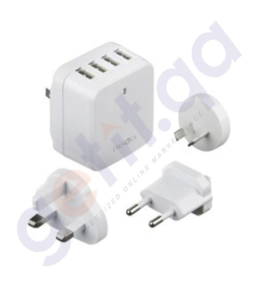 WALL CHARGER - ENERGEA TRAVELWORLD 6.8 USB WALL CHARGER 4 PORT 6.8AMPS(US/UK/EU/AU ADAPTORS)-WHITE