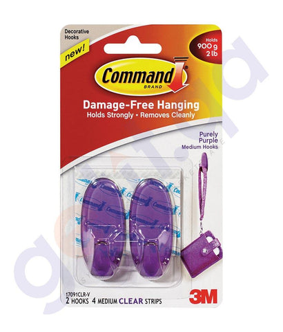 Wall Decals - 3M COMMAND PURELY PURPLE HOOKS/STRIPS REGULAR - 17091