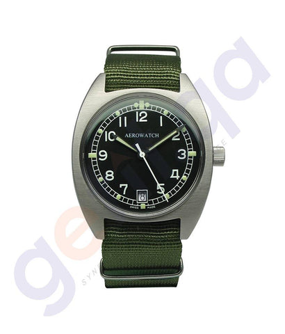 WATCHES - AEROWATCH SWISS MADE BLACK DIAL GREEN NATO UNISEX - A42971
