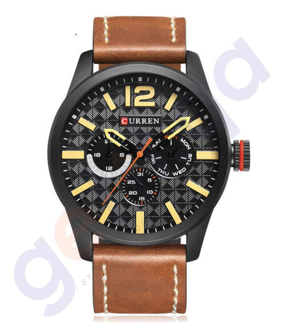 WATHCES - CURREN LEATHER STRAP CASUAL MEN'S QUARTZ ANALOG WATCH- 8247