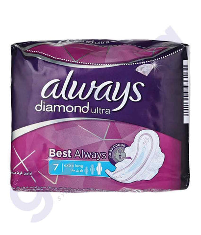 WOMEN'S NAPKINS - ALWAYS 7PCS  DIAMOND ULTRA EXTRA LONG SANITARY PADS