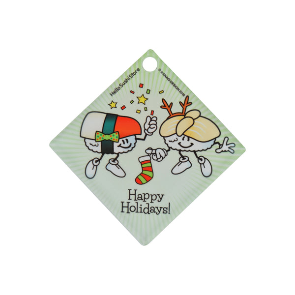 Happy Holidays Sushi Ornament (Diamond) - Hello Sushi Store