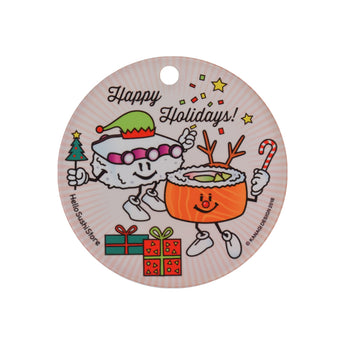Happy Holidays Sushi Ornament (Round) - Hello Sushi Store