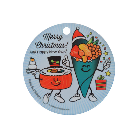 Merry Christmas Sushi Ornament (Round) - Hello Sushi Store