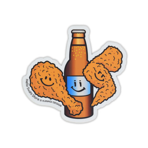 Fried Chicken and Beer Sticker by Hello Sushi Store