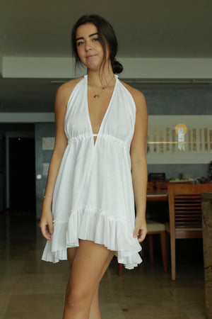 Load image into Gallery viewer, Coconut short white dress