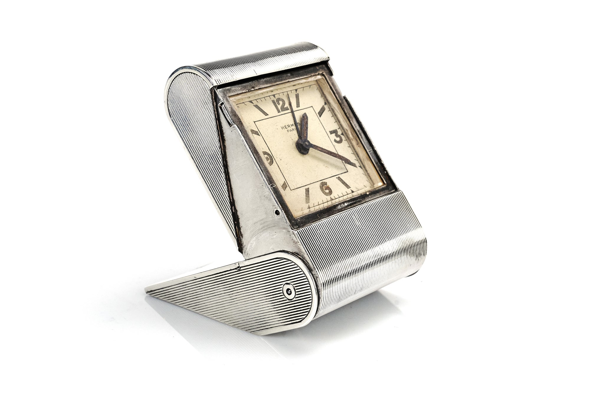 Hermes Sterling Silver Travel Clock, 1930s