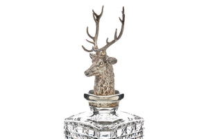 Asprey Sterling Silver & Crystal Stag Decanter