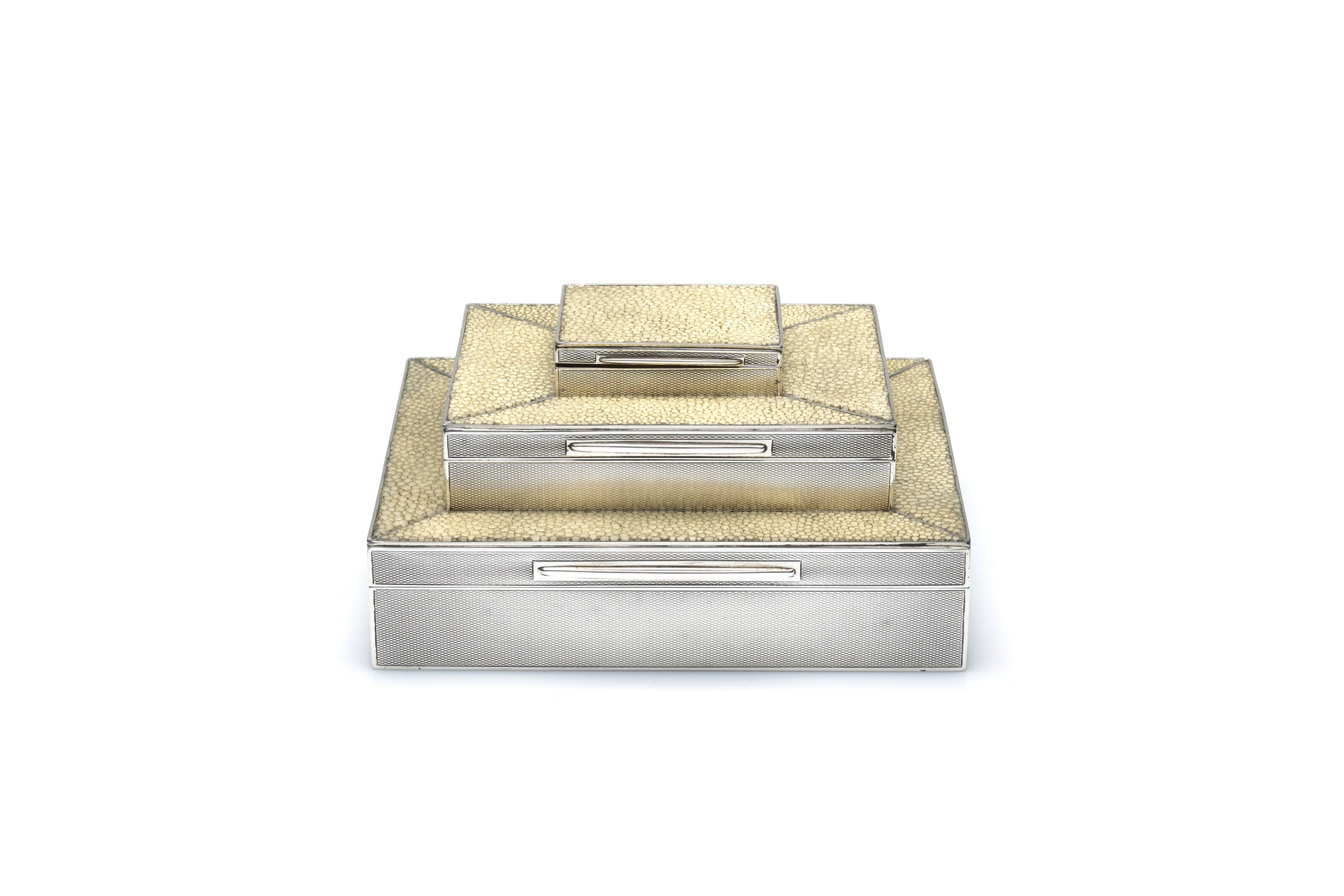 Asprey Sterling Silver & Shagreen Triple Box