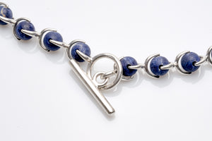 Hermes Necklace, Sterling Silver & Lapis