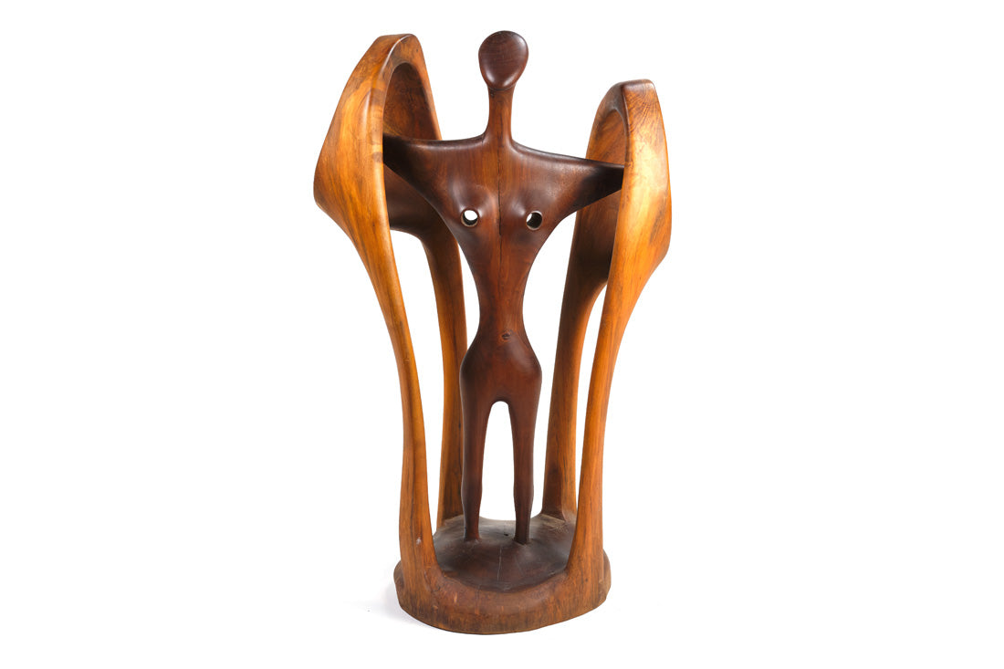 Biomorphic Carved Wood Sculpture