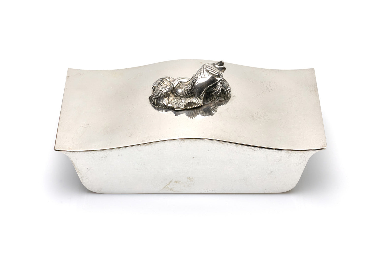 Sterling Silver Box with Fish Handle