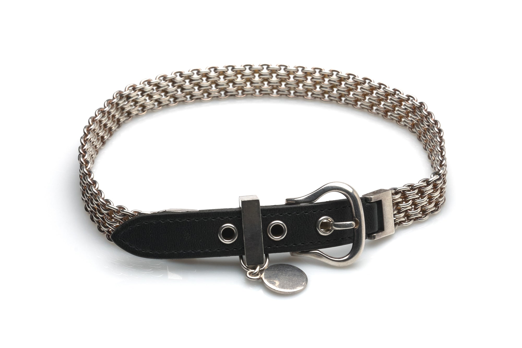 Hermes Sterling Silver & Leather Bracelet