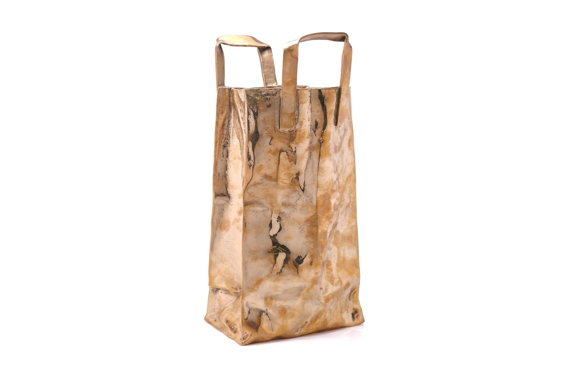 Bronze Sculpture of a Shopping Bag