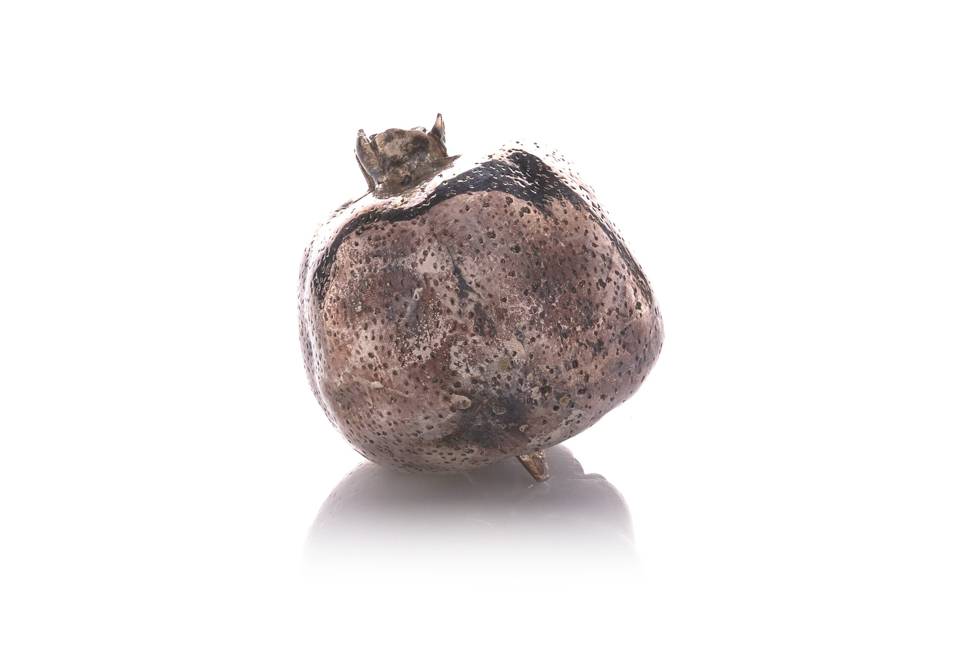 Silvered Bronze Pomegranate Sculpture