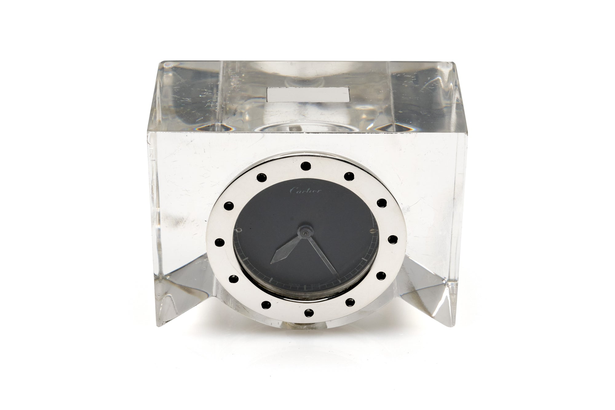 Cartier Sterling Silver & Lucite Clock