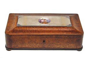 Burl Wood and Guilloche Enamel Box