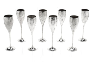 Hammered Silver Champagne Flutes