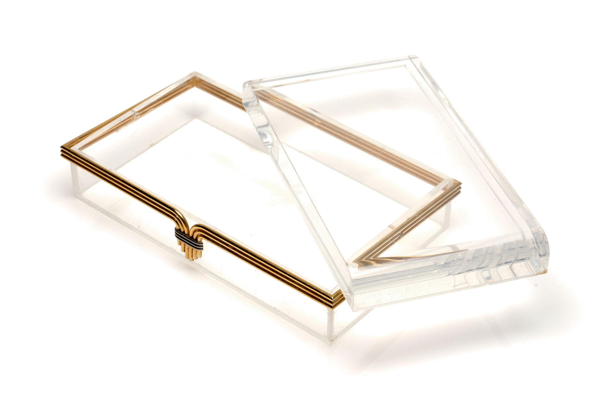 Lucite & Gilt Brass Box