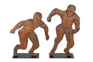 Hand-Carved Wood Football Players