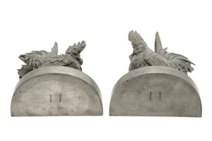 Silvered Bronze Bookends by Yamanaka & co