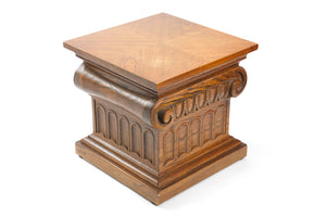 Wood Column Side Table