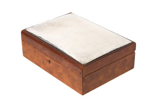 Sterling Silver & Leather Humidor