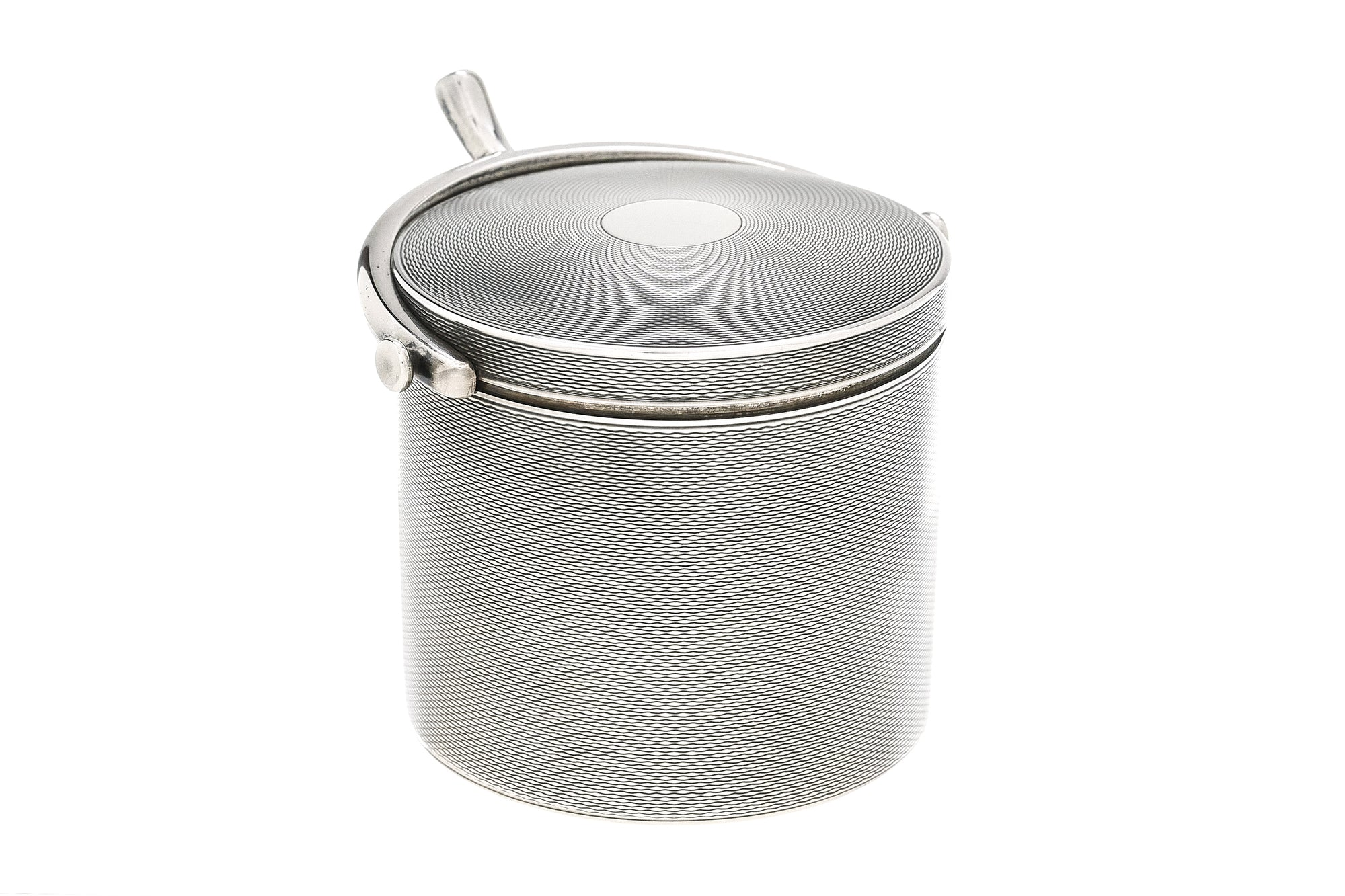 Hermes Sterling Silver Cylinder Box, Horse Shoe handle