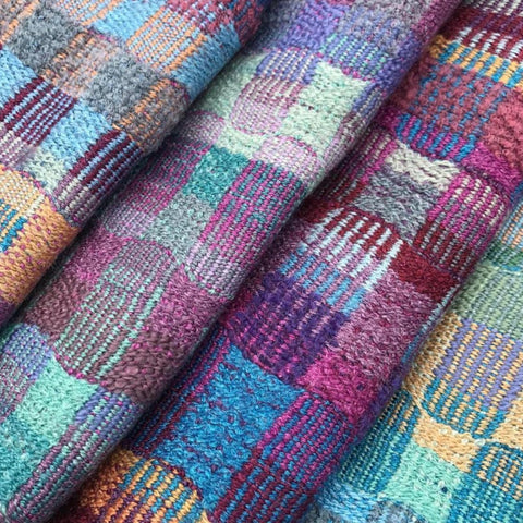 Sarah Allen's unusual color combinations work so well in these merino silk scarves ~ @sarah_weaves
