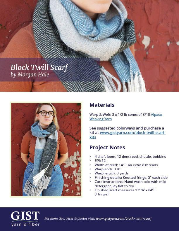 Block Twill Scarf - Free Pattern PDF Download