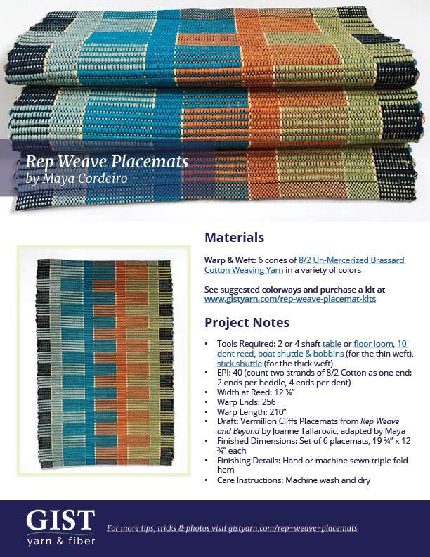 Rep Weave Placemats - Free Pattern PDF Download