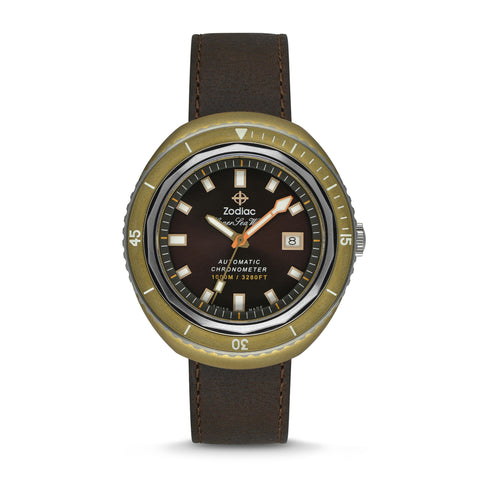 LIMITED EDITION SUPER SEA WOLF 68 AUTOMATIC BROWN LEATHER WATCH
