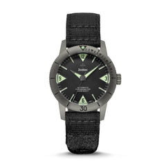 SUPER SEA WOLF AUTOMATIC BLACK GROSGRAIN WATCH