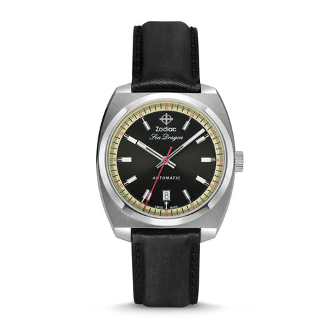 SEA DRAGON AUTOMATIC BLACK LEATHER WATCH