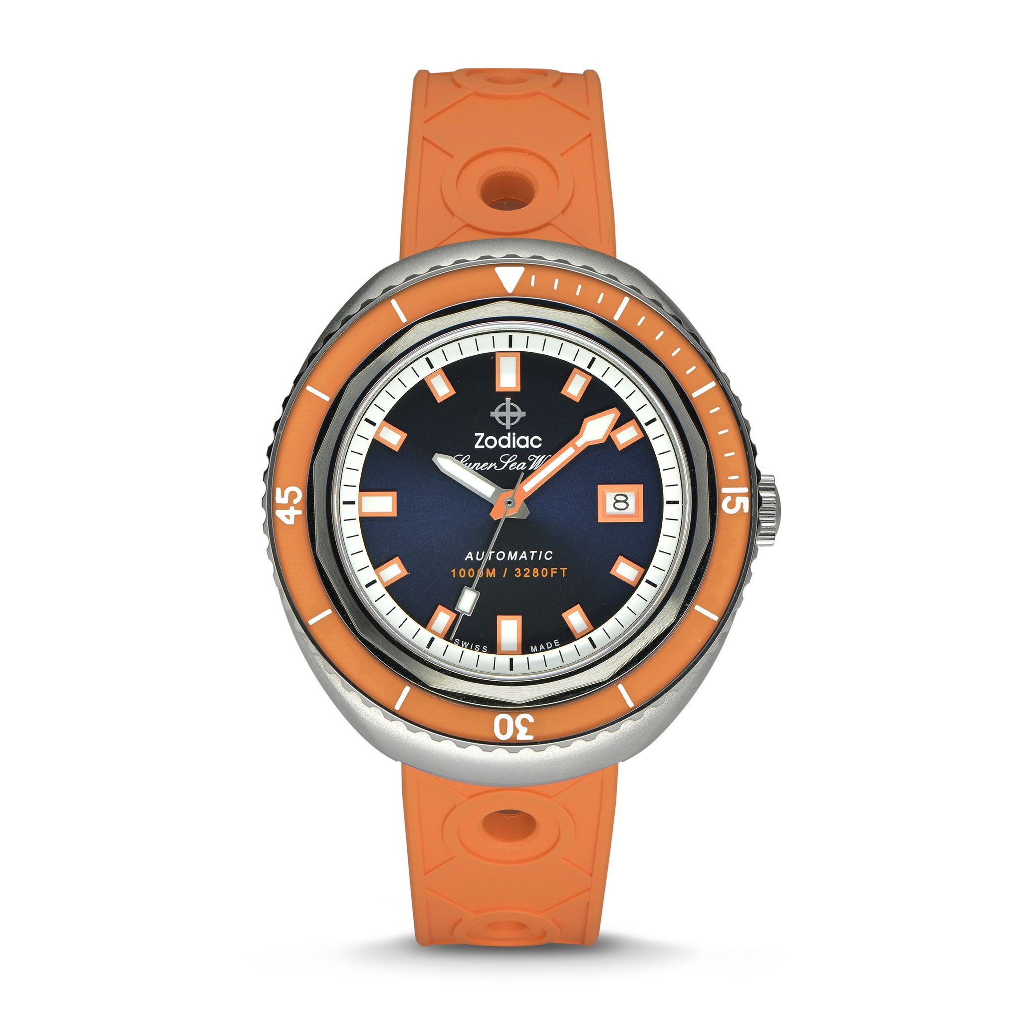 SUPER SEA WOLF 68 SATURATION AUTOMATIC ORANGE CAOUTCHOUC RUBBER WATCH